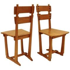 "Pair of Belgian Art Nouveau, Gustave Serrurier-Bovy ""Silex"" Chairs Liège, 1904"