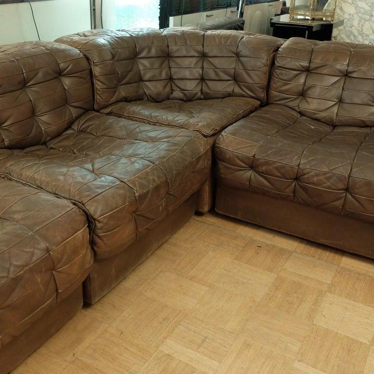Large De Sede DS-11 modular patchwork sofa, 1970s.