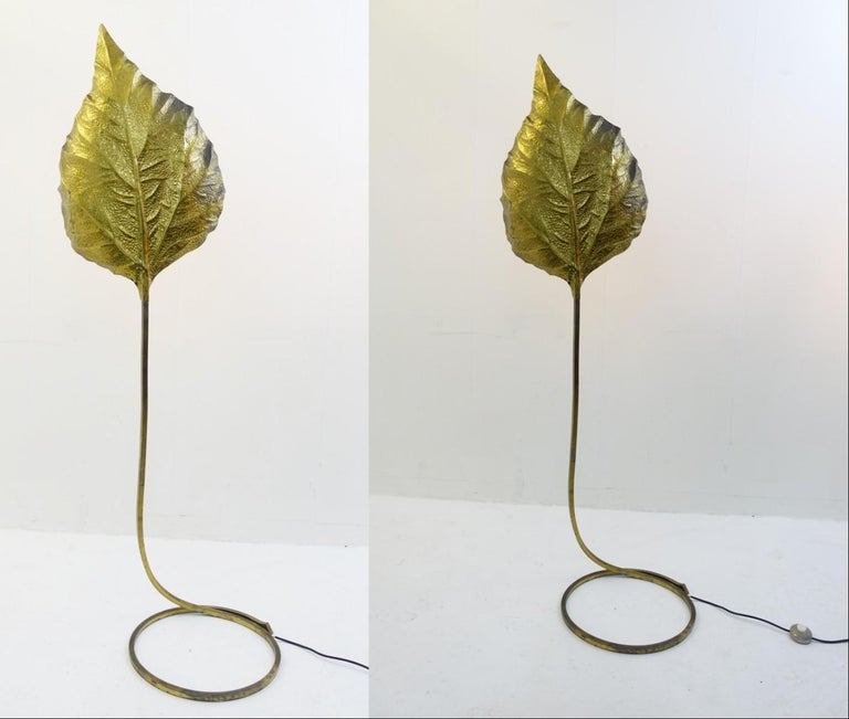Leaf-shaped floor lamp in brass by Tommaso Barbi, Italy, 1970s, 2 available.  Price is fore one item.