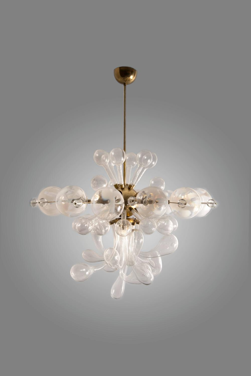 Original 1940s Czech Blown Glass Ceiling Light For Sale At
