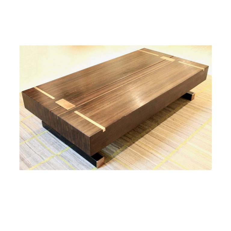 Contemporary Coffee Table Using A J Wabbes 1960 S Wenge End Grain Wood Top