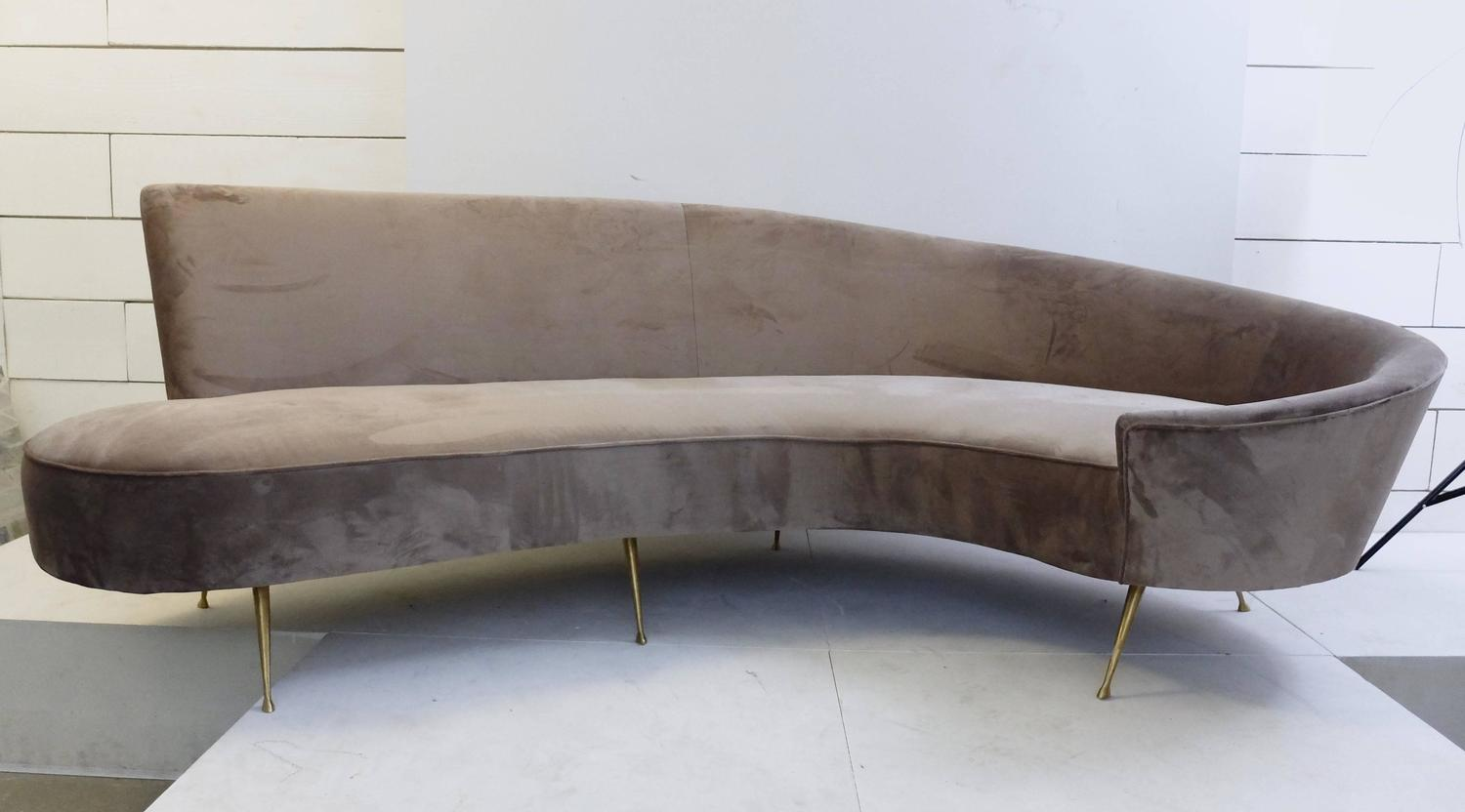 Italian Curved Sofa New Upholstery And Small Typical