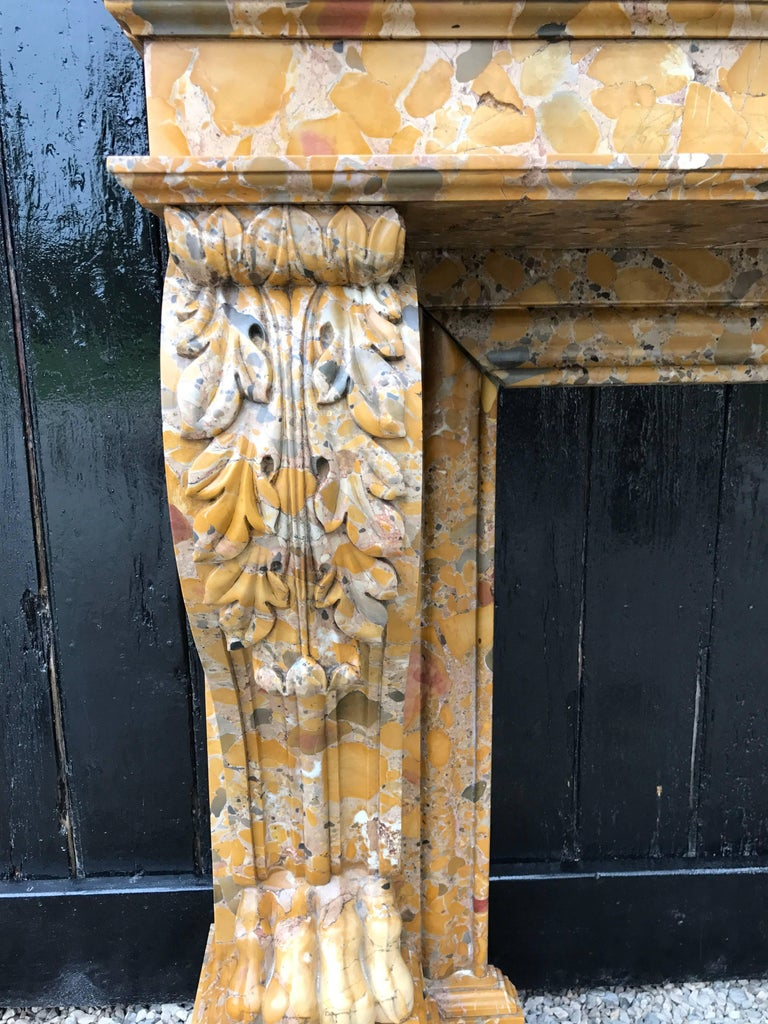 Mid-19th Century Beautiful French, 19th Century Charles X Chimney in Aleppo Breach Marble For Sale