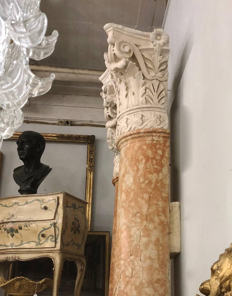 Carved Set of Four 19th Century Half-Columns in Red Verona Marble and Vincenza Stone For Sale