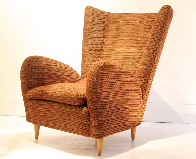 Fabric Pair of 1950s Italian Armchairs Attr. to Paolo Buffa, Robert Allen Upholstery For Sale