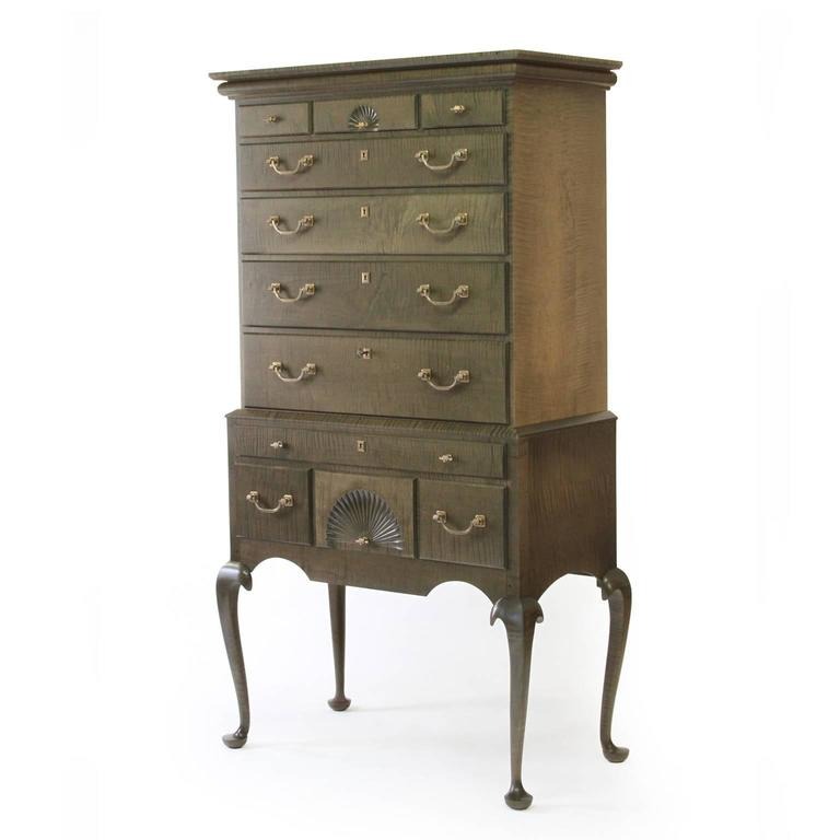 American Modern O&G Tiger Maple Highboy with Cast Bronze Fist or Hand Hardware For Sale