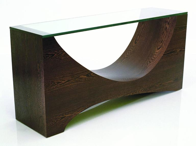 Console is shown in African Wenge. Glass may be included for an additional charge. Piece is made to order and signed by William working alone in his northern California studio. Custom dimensions and finishes are welcome.