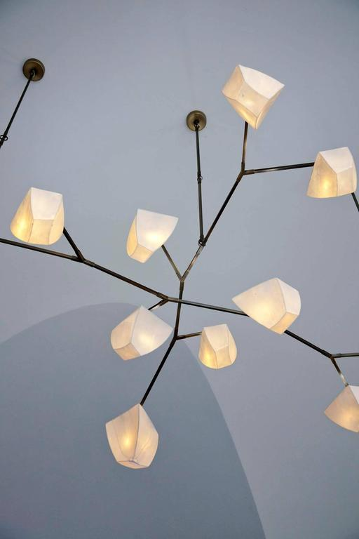 Cassiopeia 15 Porcelain and Brass Mobile Chandelier 4