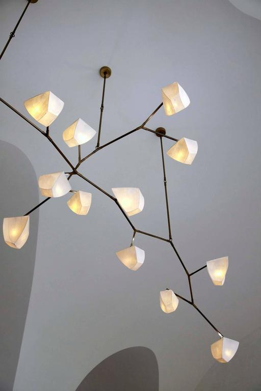 Cassiopeia 15 Porcelain and Brass Mobile Chandelier 6