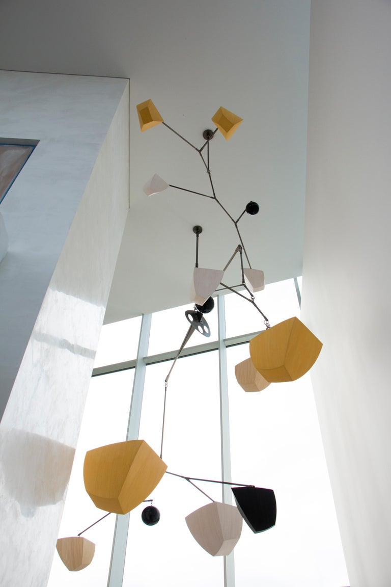 Custom Bamboo and Brass Mobile Chandelier, Custom Colors and Configuration In New Condition For Sale In Brooklyn, NY