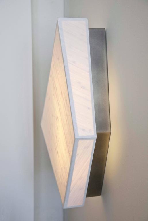 Diamond Sconce: Geometric Lighting in Bamboo and Brass 2