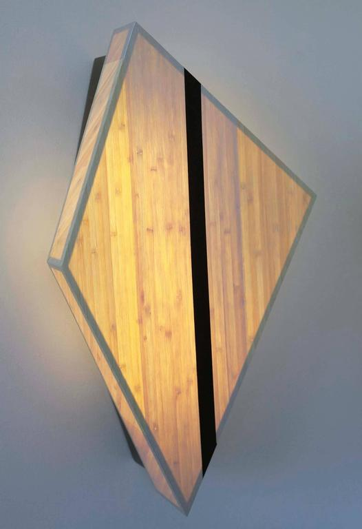 Diamond Sconce: Geometric Lighting in Bamboo and Brass 6