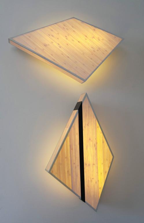 Diamond Sconce: Geometric Lighting in Bamboo and Brass 5