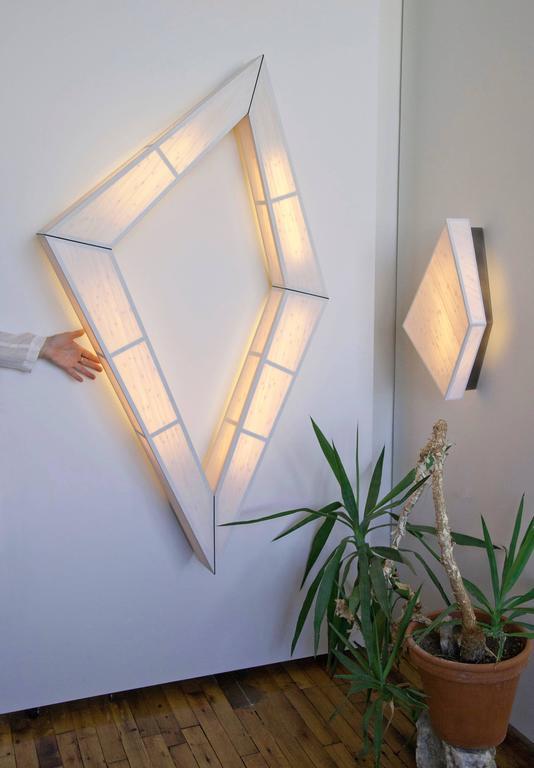 Diamond Sconce: Geometric Lighting in Bamboo and Brass 7