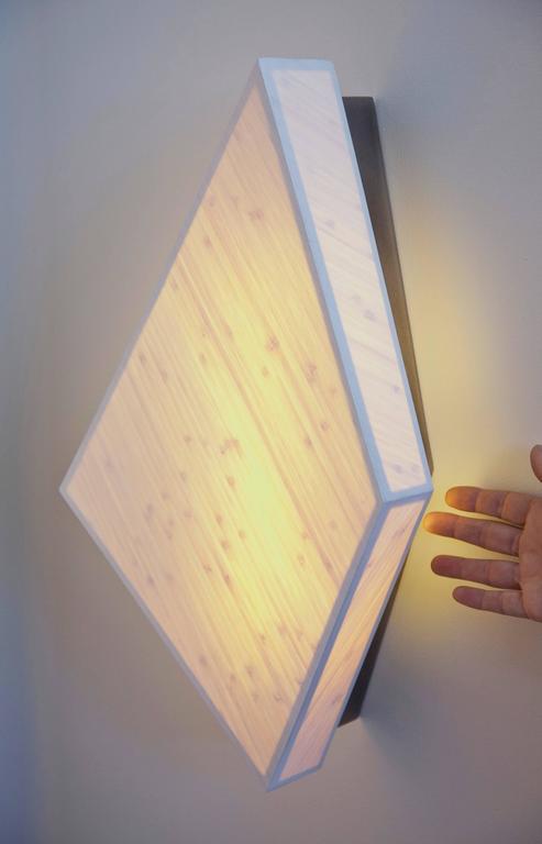 Diamond Sconce: Geometric Lighting in Bamboo and Brass 4