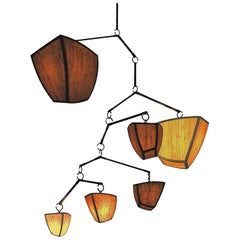 Ivy 6, ABCDEF Mobile Chandelier in Bamboo and Oil Rubbed Bronze