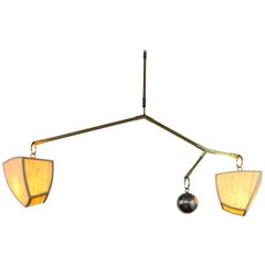Constantin 3-AB4 a Handmade Mobile Chandelier in Bamboo and Brass