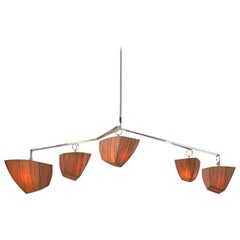 Cassiopeia 5-AABCD, a Mobile Chandelier in Bamboo and Brass