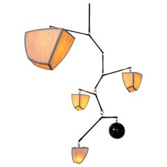 Ivy 5-ABCDE, a Mobile Chandelier in Bamboo and Brass