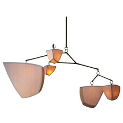 Cassiopeia 5-ABDEF, a Mobile Chandelier in Bamboo and Brass