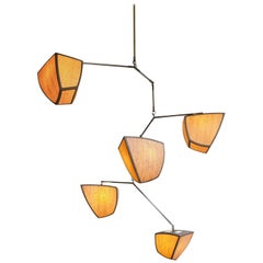 Modern Mobile Chandelier, Wood and Brass, Ivy 5-D22E2F by Andrea Claire Studio
