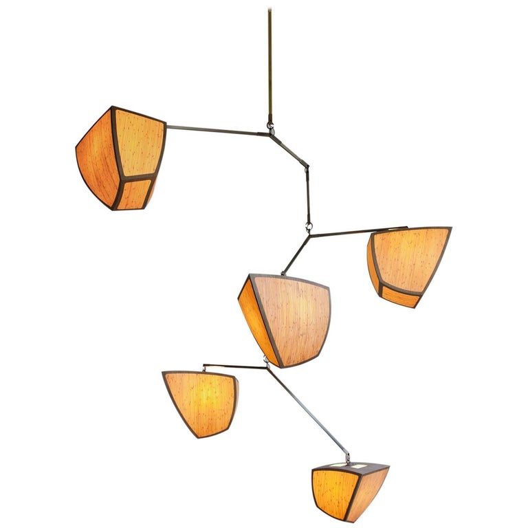 """Ivy 5: D2EEFFis a large mobile chandelier with 5 glowing bamboo polyhedrons,arranged in size order.The Ivy Seriesis a vertically oriented variation which mimics the shape of Ivy vines.  Our unique mobile """"kit of parts"""" chandelier can be"""