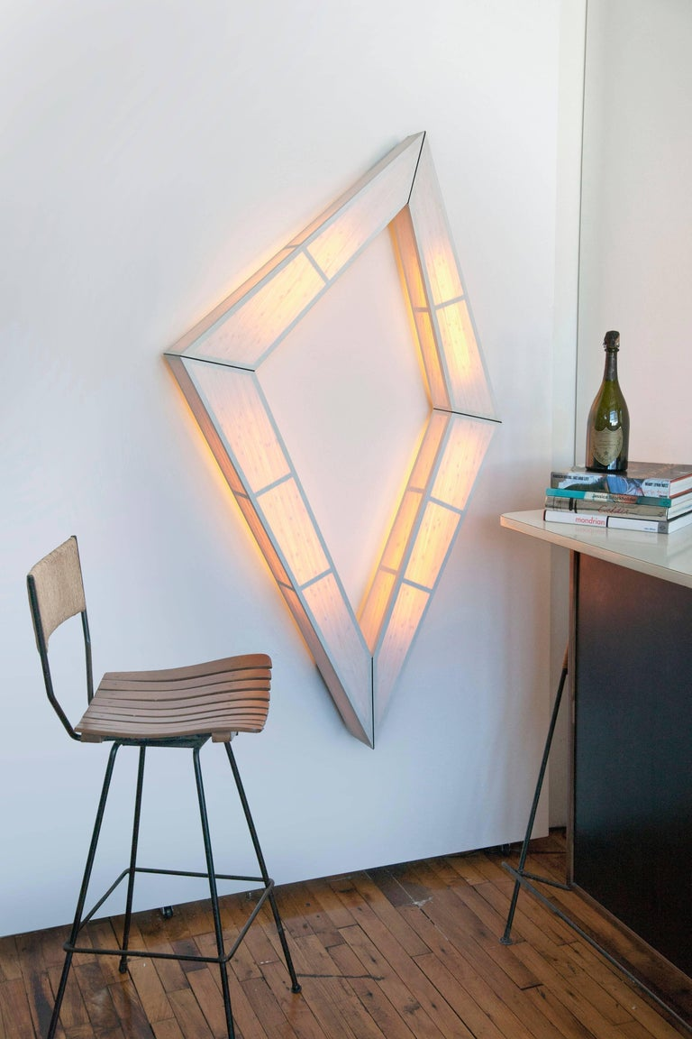 Bamboo Diamond Illuminate: wall mounted light sculpture For Sale