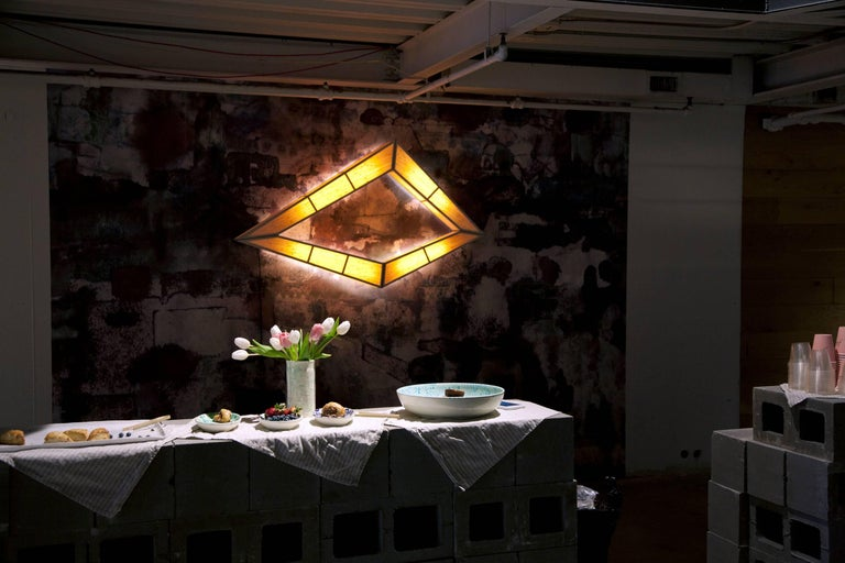 Hand-Crafted Diamond Illuminate: wall mounted light sculpture For Sale