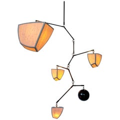 Ivy 5: ABCDE, Mobile Chandelier in Bamboo and Brass