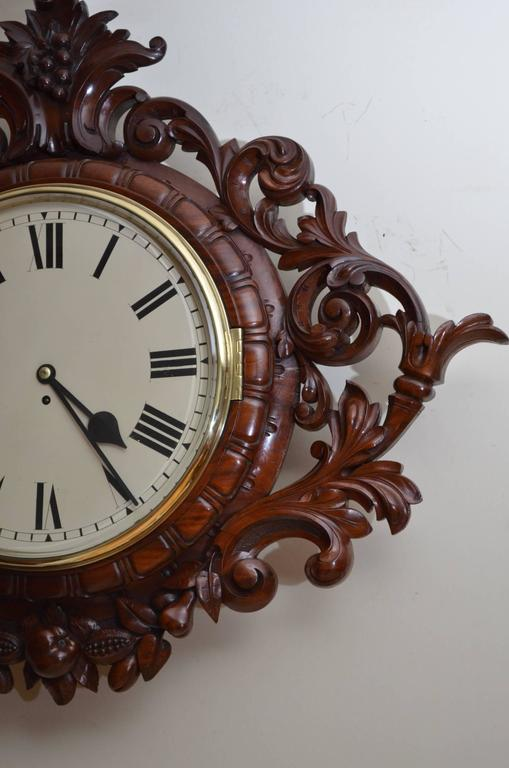 British Exceptional Victorian Wall Clock, Large Mahogany Clock For Sale