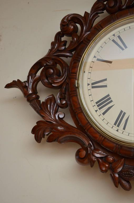 Exceptional Victorian Wall Clock, Large Mahogany Clock In Good Condition For Sale In Whaley Bridge, GB