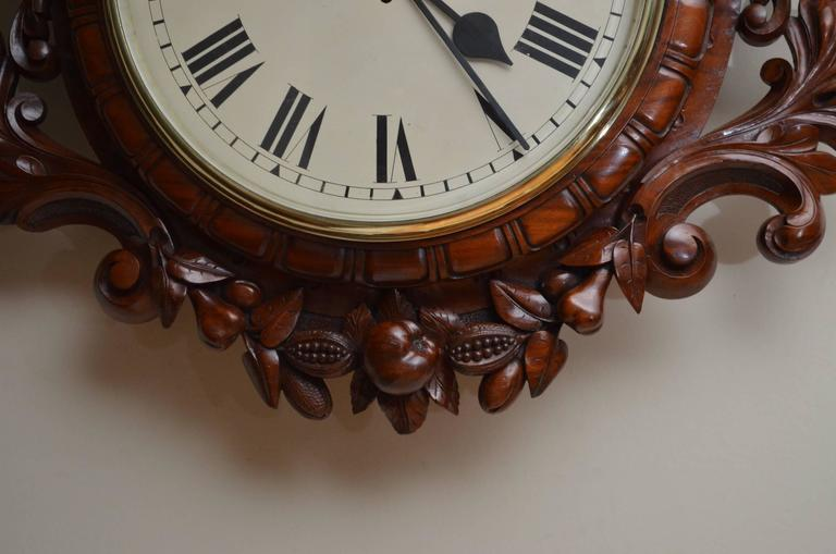 Mid-19th Century Exceptional Victorian Wall Clock, Large Mahogany Clock For Sale