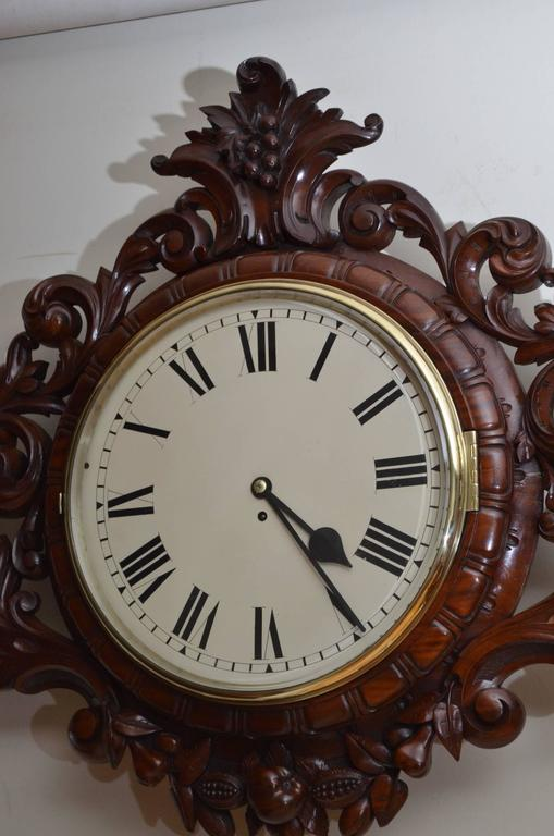 Exceptional Victorian Wall Clock, Large Mahogany Clock For Sale 1
