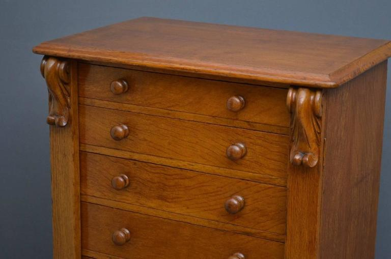 English Victorian Oak Wellington Chest of Drawers