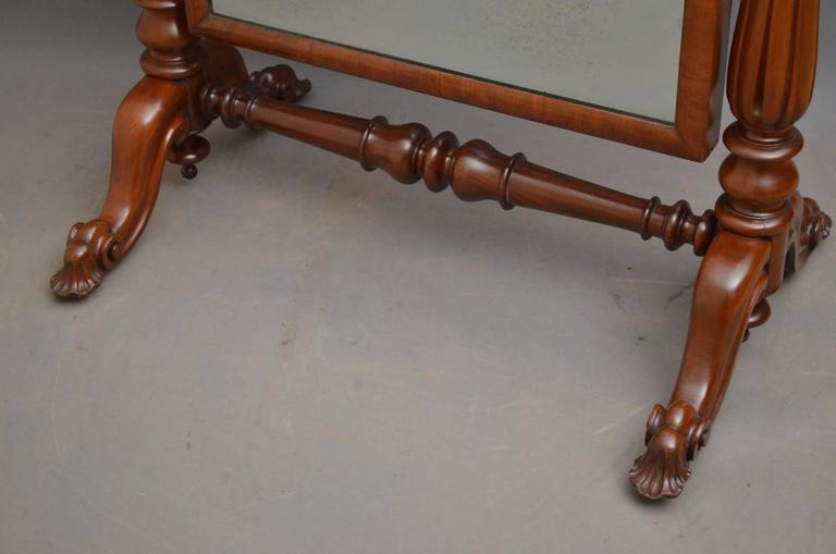 Victorian Mahogany Cheval Mirror For Sale 3