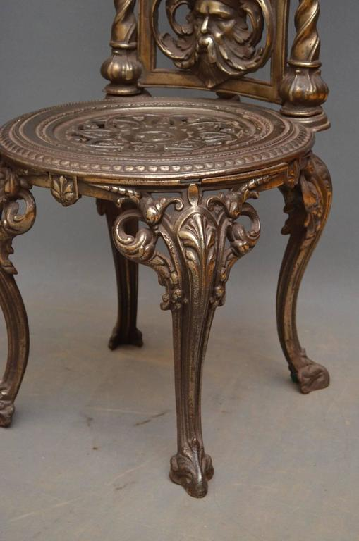 Pair of Decorative Cast Iron Chairs For Sale 5