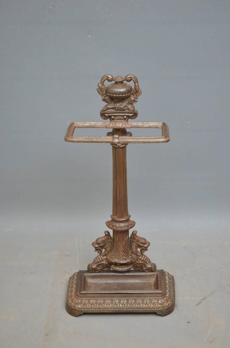 K0277 Victorian cast iron stick stand of elegant design and excellent original condition throughout, circa 1870