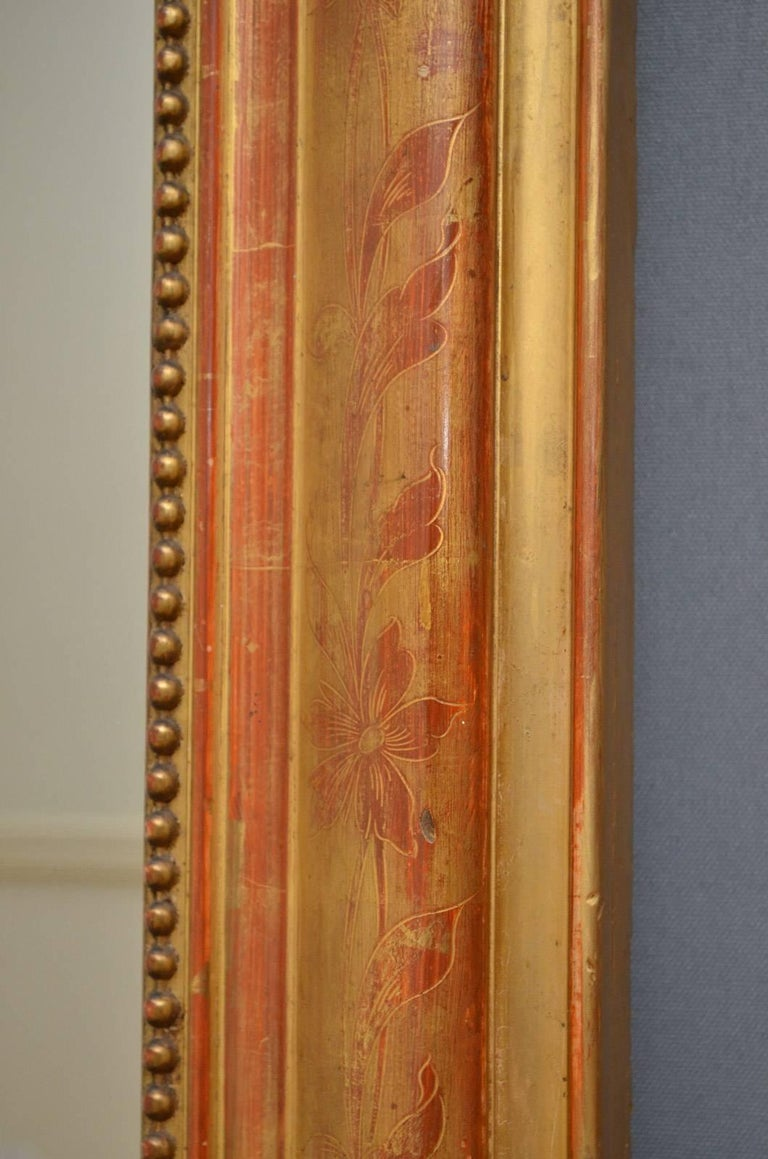 Giltwood Exceptional 19th Century Wall Gilt Mirror For Sale