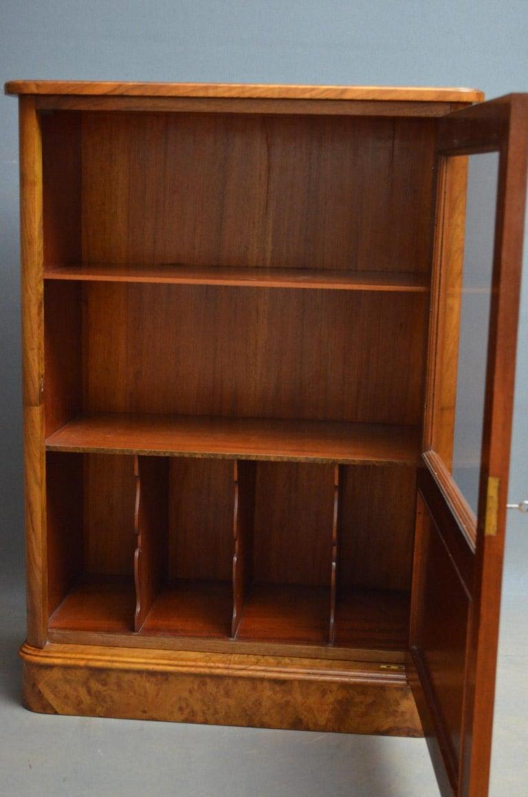 English Elegant Victorian Burr Walnut Bookcase or Music Cabinet For Sale