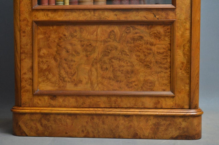 Late 19th Century Elegant Victorian Burr Walnut Bookcase or Music Cabinet For Sale