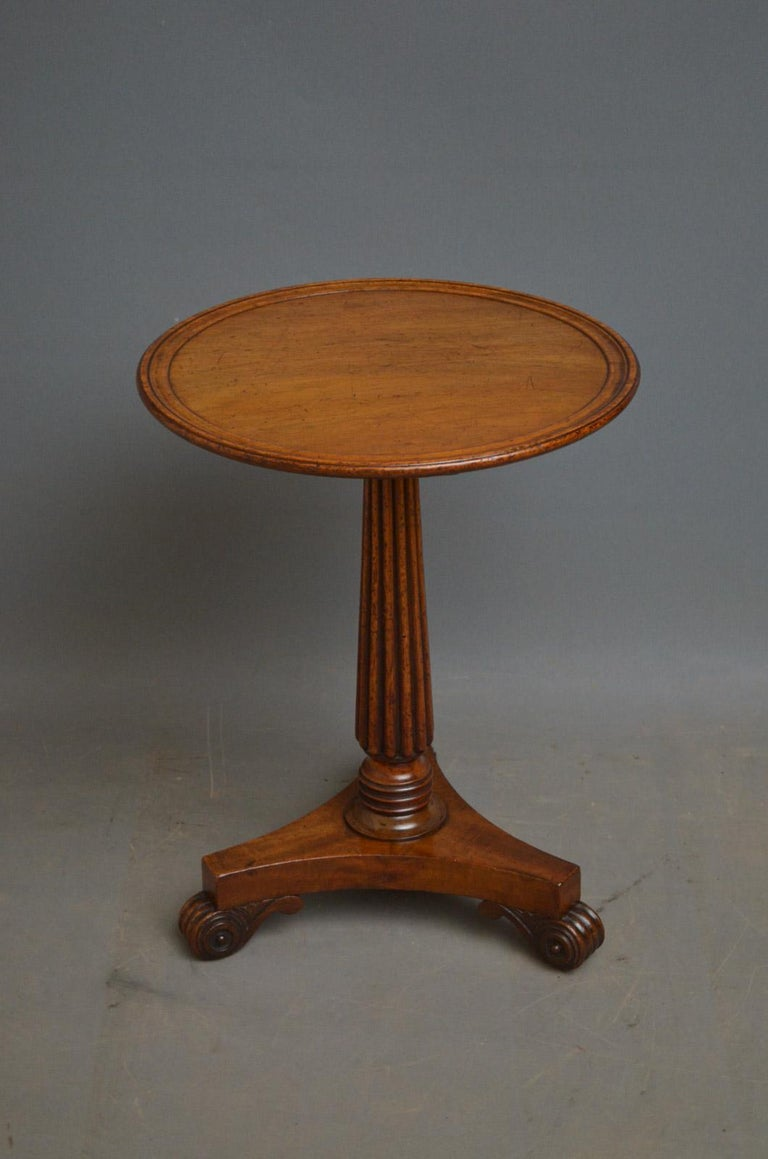 Sn4465 Elegant and very practical Regency mahogany table reduced to the size of coffee table, having dished top and fluted column terminating in trefoil base and reeded knurl feet. This antique table is a marriage of two associated period pieces,