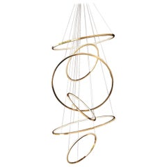 Contemporary Circular Large Lohja LED Six-Ring Chandelier