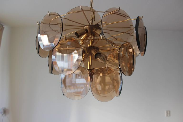 Italian Vintage Smoked Glass Chandelier 1970 in the Style of Vistosi For Sale