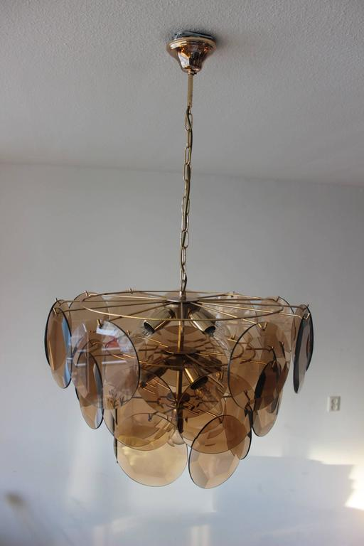 Vintage Smoked Glass Chandelier 1970 in the Style of Vistosi In Good Condition For Sale In Diemen, NL