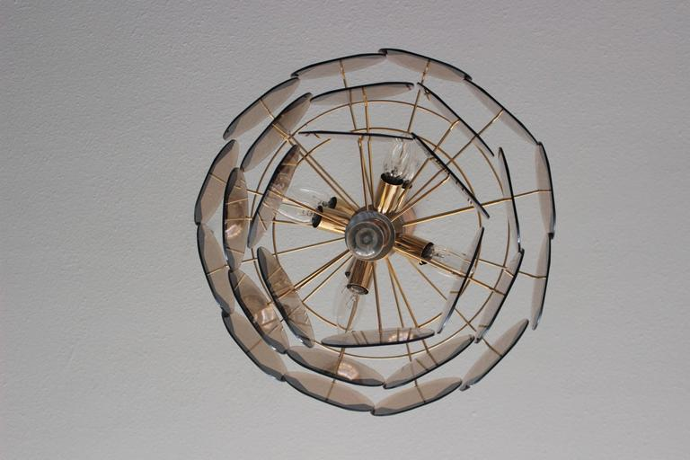 20th Century Vintage Smoked Glass Chandelier 1970 in the Style of Vistosi For Sale