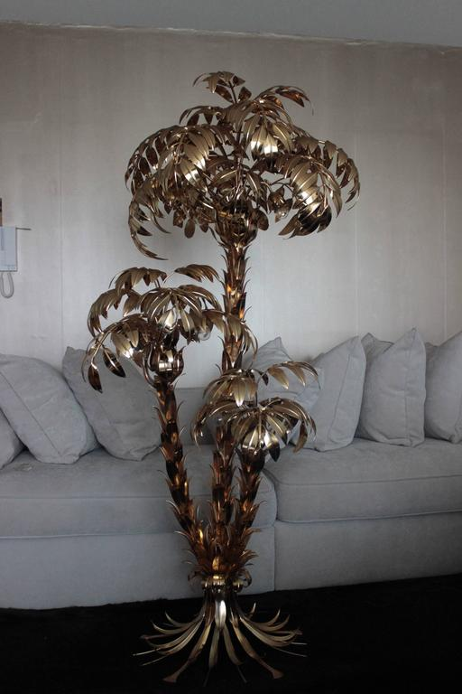 Extra large brass gilt metal three trunk palm tree floor for Large tree floor lamp