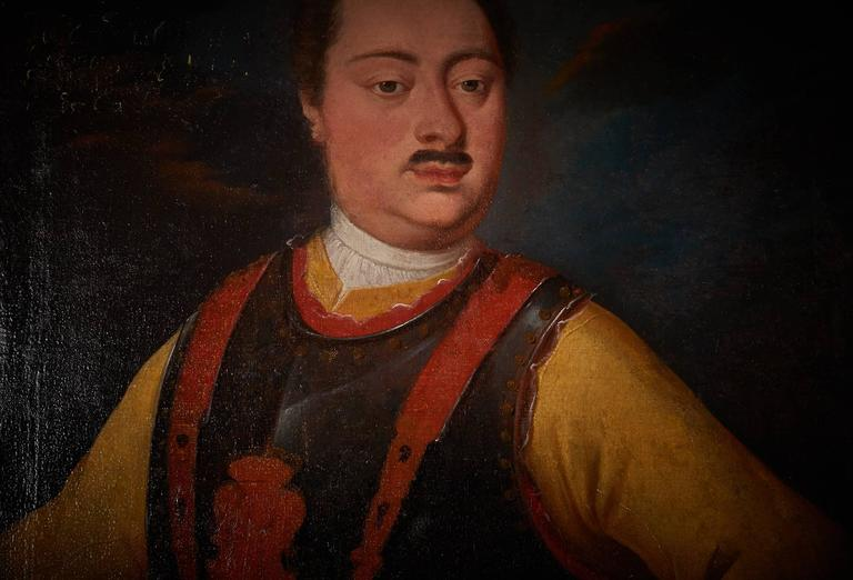 Neoclassical Portrait of a Noble Gentleman Wearing Breastplate, Oil on Canvas, 18th Century For Sale
