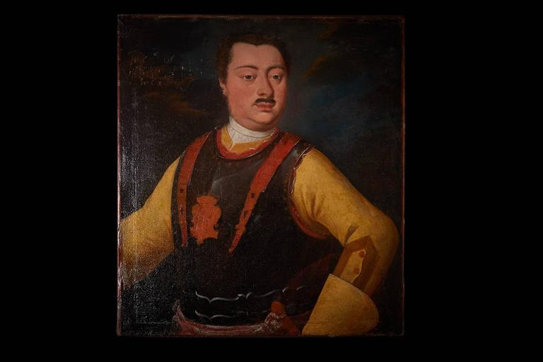 A wonderfully charismatic depiction, with rich and lustrous ochre tones and in excellent restored condition. This portrait is of the 18th century German School. It's provenance Palazzo Sacchetti, Rome. Unframed.