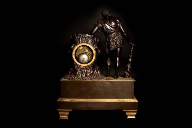 Large French Empire Ormolu Hercules and the Apple of Hesperides Clock circa 1820 For Sale 2