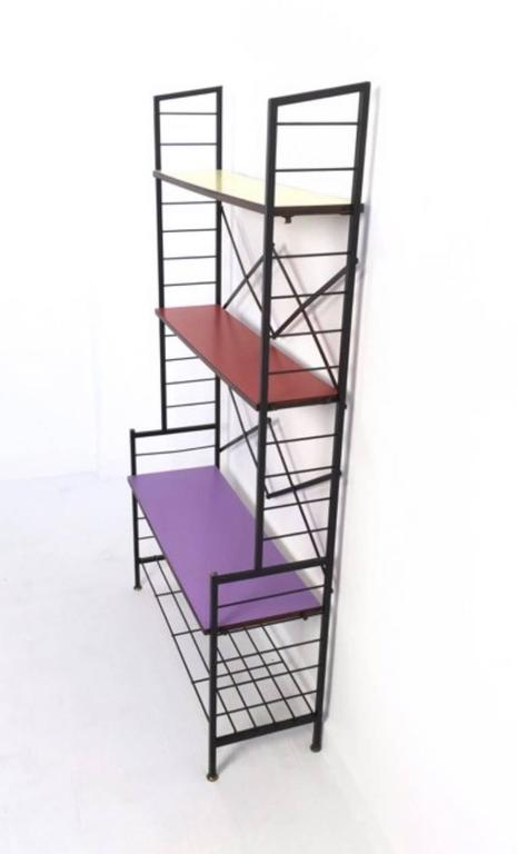 Painted Iron Ètagerè with Wooden Shelves, Italy, 1960s For Sale